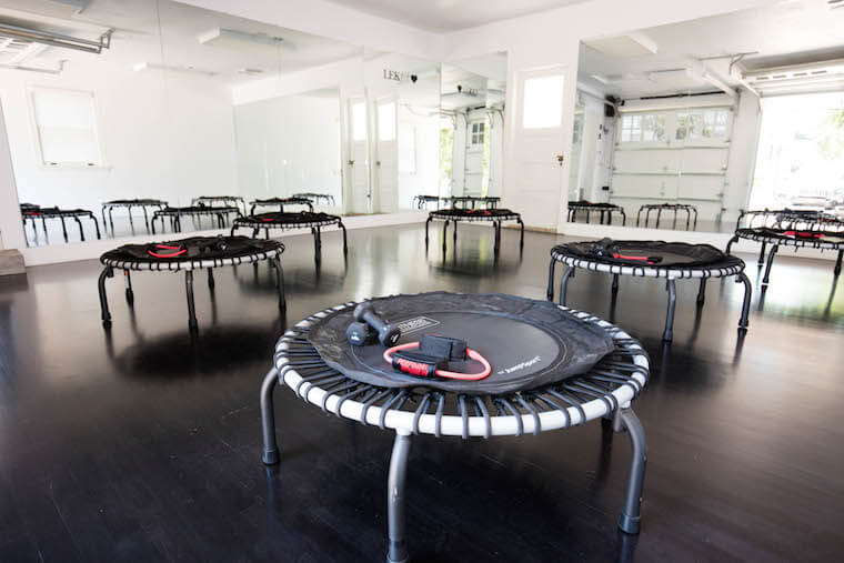 Mini-trampolines for used for LEKfit rebounding workout classes